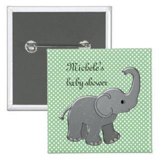 elefante verde de la fiesta de bienvenida al bebé pin cuadrado