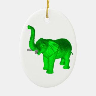 Elefante verde adornos de navidad