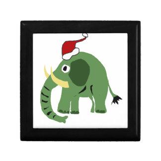 Elefante verde divertido del navidad en el gorra cajas de regalo