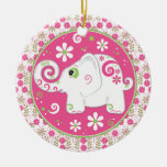 Elefante verde rosado de lujo y ornamento floral
