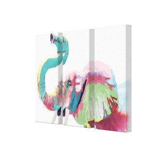 Elefante vibrante colorido de moda impresionante impresión en lienzo