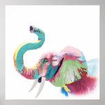 Elefante vibrante colorido de moda impresionante póster