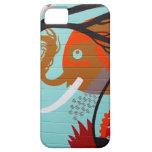Elefante y árbol del arte abstracto iPhone 5 Case-Mate funda