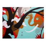Elefante y árbol del arte abstracto tarjeta postal