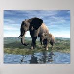 Elefante y bebé impresiones