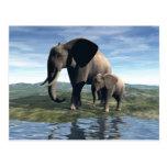 Elefante y bebé postal