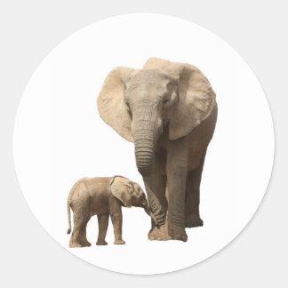 elefante y becerro pegatina redonda