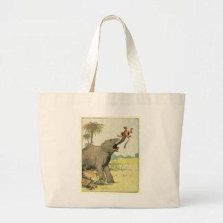 Elefante y cazador furtivo en la selva bolsa tela grande