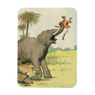 Elefante y cazador furtivo en la selva imán de vinilo