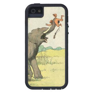 Elefante y cazador furtivo en la selva iPhone 5 carcasa
