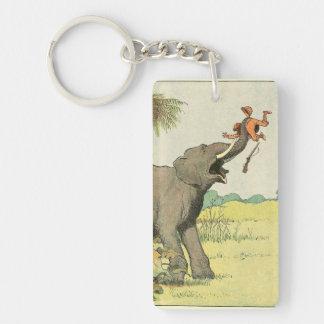 Elefante y cazador furtivo en la selva llavero rectangular acrílico a doble cara