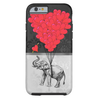 Elefante y corazón del amor funda de iPhone 6 tough