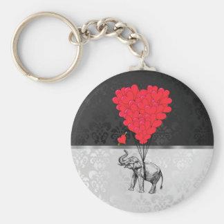 Elefante y corazón del amor llavero personalizado
