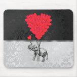 Elefante y corazón del amor tapetes de ratones