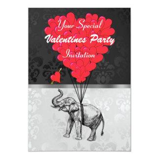 Elefante y corazón en el fiesta de las tarjetas anuncios