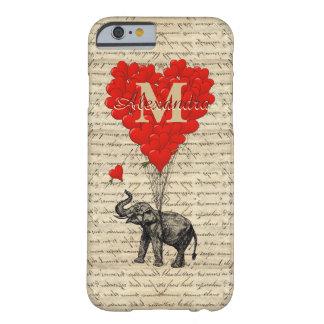 Elefante y corazón románticos cones monograma funda de iPhone 6 barely there