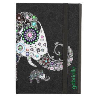 Elefante y diamantes florales retros coloridos 2