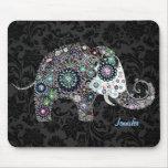 Elefante y diamantes florales retros coloridos 2 tapete de raton