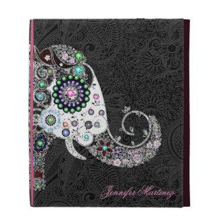 Elefante y diamantes florales retros coloridos