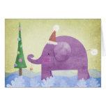 Elefante y el árbol de navidad - tarjeta