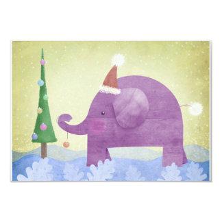 Elefante y el árbol de navidad - tarjetas de RSVP Invitación