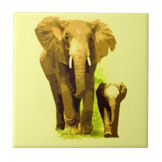 Elefante y elefante del bebé azulejo cuadrado pequeño