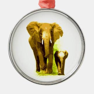 Elefante y elefante del bebé adorno redondo plateado