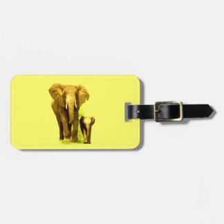 Elefante y elefante del bebé etiquetas bolsa