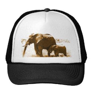 Elefante y elefante del bebé gorras de camionero