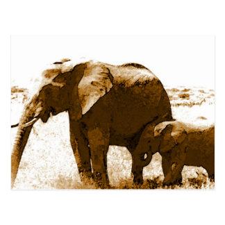 Elefante y elefante del bebé tarjeta postal
