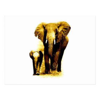 Elefante y elefante del bebé postales