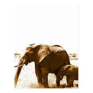 Elefante y elefante del bebé tarjetas postales