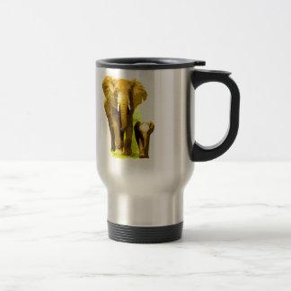Elefante y elefante del bebé tazas de café