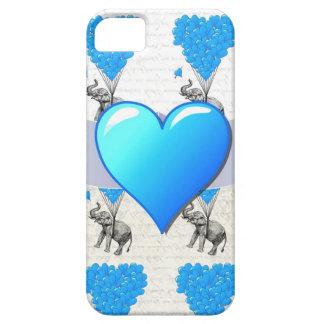 Elefante y globos azules del corazón iPhone 5 carcasa