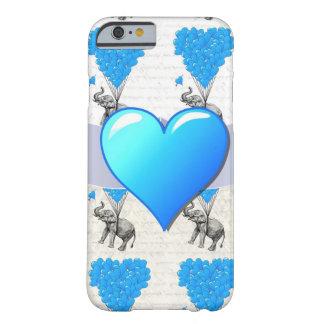 Elefante y globos azules del corazón funda de iPhone 6 barely there