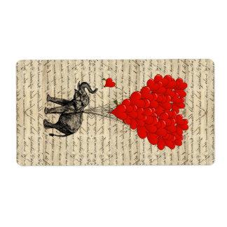 Elefante y globos en forma de corazón etiquetas de envío
