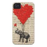 Elefante y globos en forma de corazón iPhone 4 Case-Mate carcasa