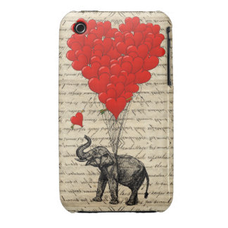 Elefante y globos en forma de corazón iPhone 3 funda