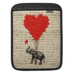 Elefante y globos en forma de corazón funda para iPads