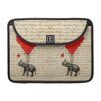 Elefante y globos en forma de corazón fundas para macbooks