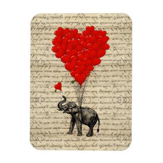 Elefante y globos en forma de corazón imanes rectangulares