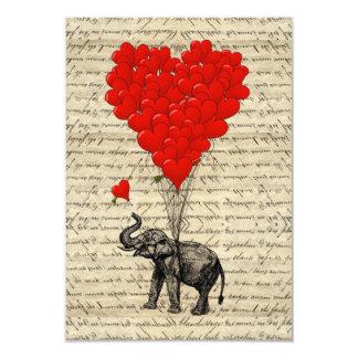 """Elefante y globos en forma de corazón invitación 3.5"""" x 5"""""""
