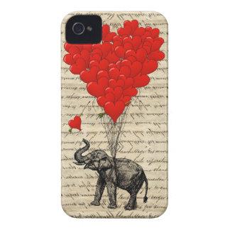 Elefante y globos en forma de corazón iPhone 4 Case-Mate cárcasas