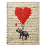 Elefante y globos en forma de corazón libreta espiral