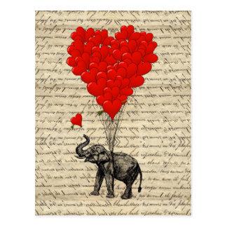 Elefante y globos en forma de corazón postales