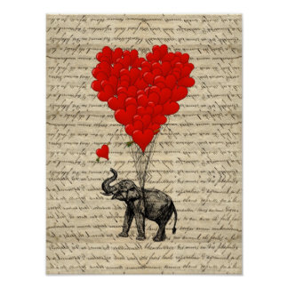 Elefante y globos en forma de corazón póster