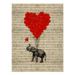 Elefante y globos en forma de corazón posters