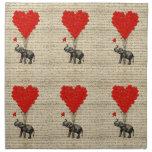 Elefante y globos en forma de corazón servilleta imprimida