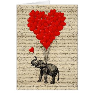 Elefante y globos en forma de corazón felicitacion