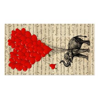 Elefante y globos en forma de corazón tarjetas de visita